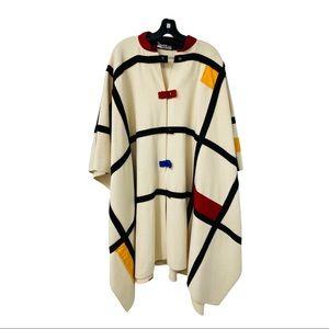 Coloratura pure wool mondrian style cape poncho